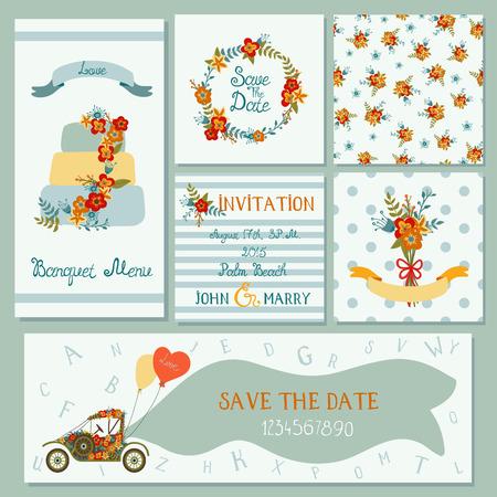 Verzameling van 6 leuke trendy kaarten sjablonen met bloemen, cake en retro auto. 2 naadloze patronen. Romantisch, huwelijk, sparen de datum, babydouche, verjaardagspartij. Hand getrokken letters en cijfers. Stock Illustratie