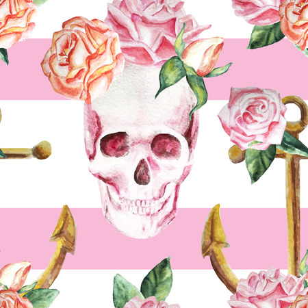 Marine watercolor background with flowers, roses, skull, vintage, pattern, colorful, romantic, anchor. Isolated.