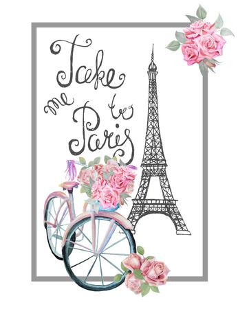 T-shirt print design met teken NEEM ME naar Parijs. Hand getrokken Eiffeltoren, aquarel retro fiets en rozen.