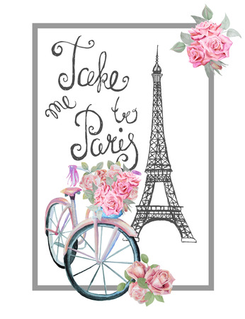 T-shirt print design with sign TAKE ME TO PARIS. Hand drawn Eiffel tower, watercolor retro bicycle and roses. Çizim