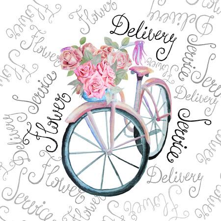 꽃 그림 수채화 복고풍 자전거입니다. 외딴. 스톡 벡터. 꽃 배달 서비스 전문점.