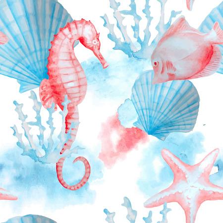Zee, zeevaart, marine patroon met geïsoleerde hand geschilderd aquarel objecten: schelpen, zeepaardje, koralen, vissen. Onderwater leven. Stock Illustratie