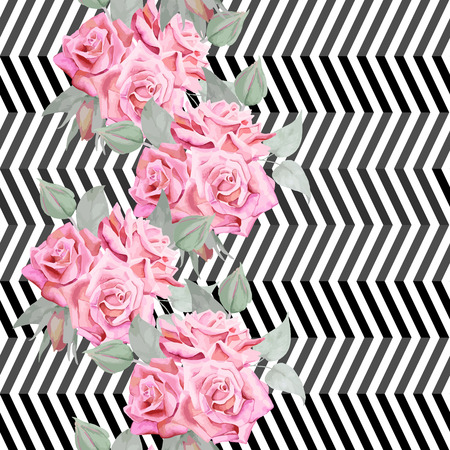 red and white: Watercolor red roses seamless pattern wit modern trendy geometrical background.