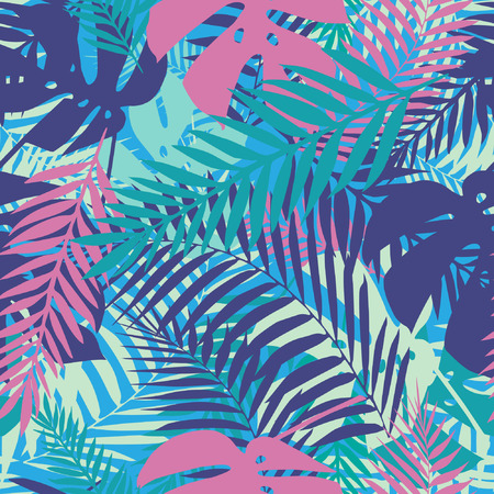 leaf: Fashion tropical seamless pattern. Colorful palm leaves. Modern trendy endless background. Vector.