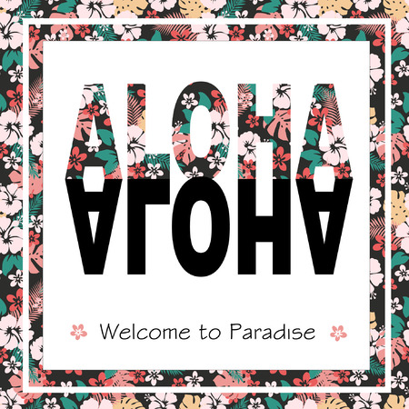 Vintage tropical exotic Hawaii print for t-shirt with slogan ALOHA.