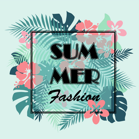 slogan: Summer fashion.T-shirt or poster design print with palm leaves and exotic flowers and slogan. Best for t-shirt print.