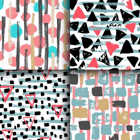 4 の手描きのコレクションには、さまざまなプリントとデザインのためのシームレスな幾何学模様が描かれています。  イラスト・ベクター素材