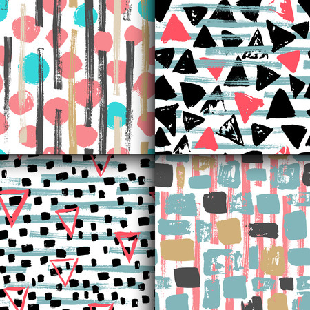 Collection of 4 hand drawn painted seamless geometric patterns for different kind prints and design. Vettoriali