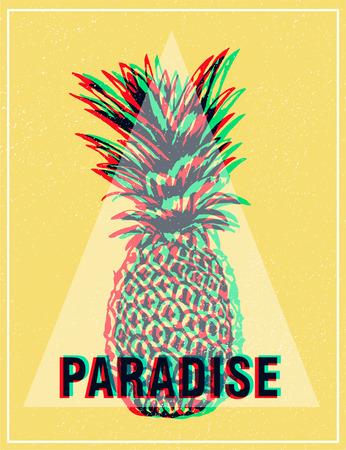 パイナップルのエキゾチックな日当たりの良い背景。夏のトロピカル t シャツのグラフィックを印刷します。