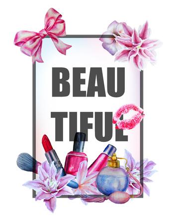 cosmeticos: Acuarela mano flores y cosméticos fondo de la impresión y el lema dibujado.