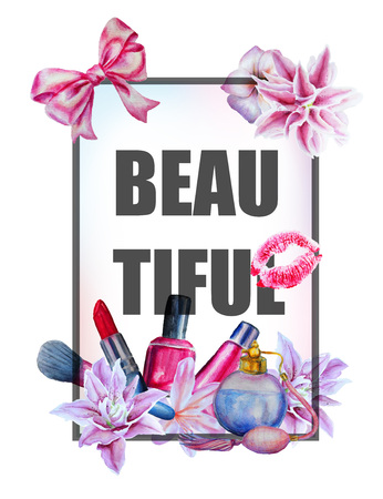Watercolor hand drawn flowers and cosmetics print background and slogan. Çizim