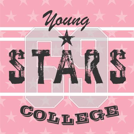 slogan: Colegio niñas atléticos camiseta tipografía, gráficos. Estrellas rosadas del diseño del equipo universitario. Las estrellas jóvenes. Vectores