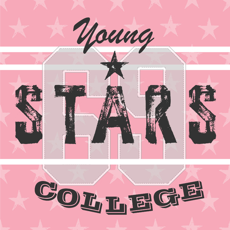 college girl: College athletic girls t-shirt typography,graphic. Pink stars varsity design. Young stars.
