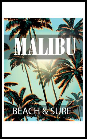 malibu: Exotic sunny background with palms.Malibu surf and beach typography.Summer tropical T-shirt graphics print.