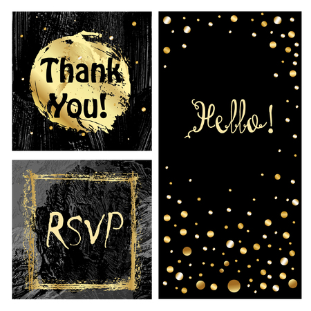 Cute cards with golden confetti and foil elements. Brushpaint  backgrounds. Use them for valentines day, birthday, save the date invitation, glamour cards and backgrounds. Vettoriali
