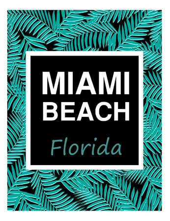 miami: Miami surf and beach typography.Summer tropical T-shirt graphics print. Illustration