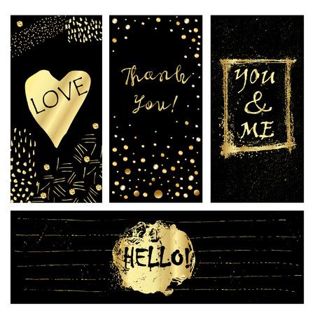 Leuke kaarten met gouden confetti en folie elementen. Borstel geschilderde achtergronden. Gebruik ze voor Valentijnsdag, verjaardag, sparen de datum uitnodiging.