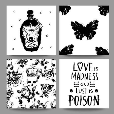 love: Scrapbooking or typography collection of cards and seamless patterns.
