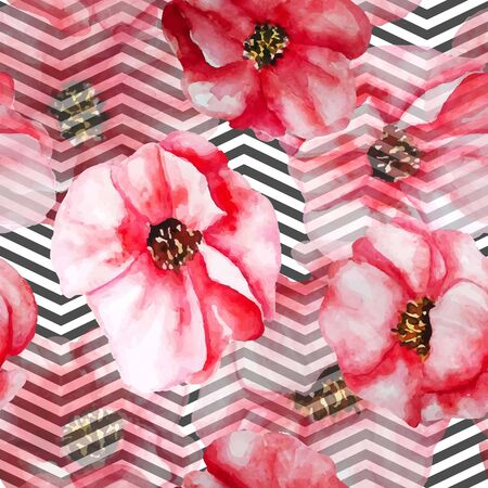 poppy: Diseño de moda moderno para la industria textil, telón de fondo, la textura infinita. Vectores
