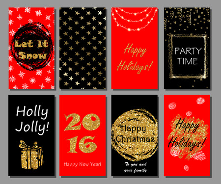 golden christmas: Christmas and New Year handdrawn cards collection with golden glitter texture. Xmas party invitation, greeting cards design. Illustration