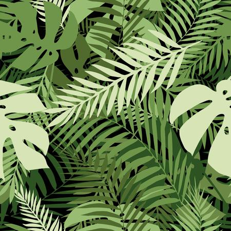 Naadloos tropisch patroon met palmbladeren voor stofontwerp of andere toepassingen. Stock Illustratie