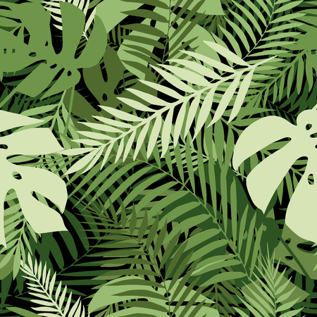 Seamless tropical pattern with palm leaves for fabric design or other uses.