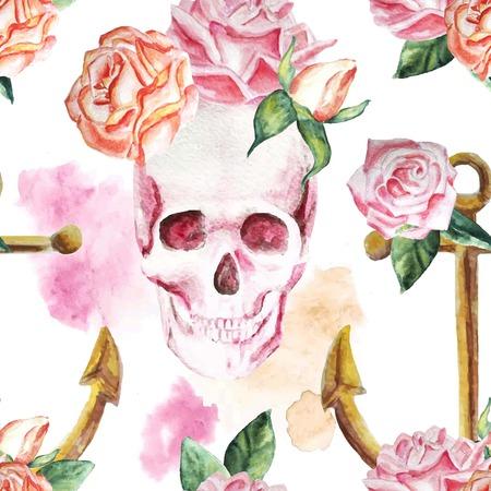 Mariene waterverfachtergrond met bloemen, rozen, schedel, wijnoogst, kleurrijk patroon, romantisch, anker. Geïsoleerd. - voorraad vector