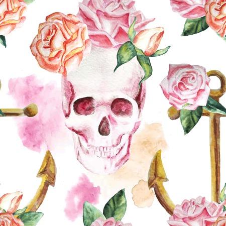 Marine watercolor background with flowers, roses, skull, vintage, pattern, colorful, romantic, anchor. Isolated. - stock vector Illustration