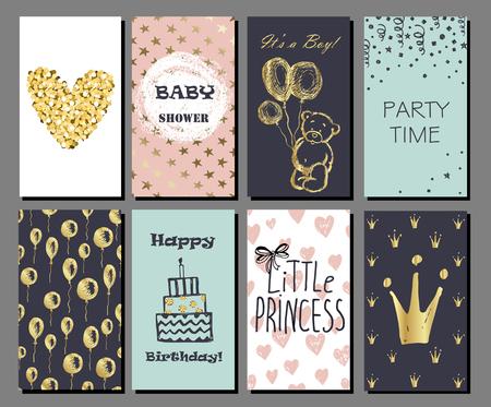 bebes ni�as: Conjunto de dibujado a mano tarjetas lindas de oro brillo confeti y papel de aluminio. Perfecto para baby shower, cumplea�os, invitaci�n del partido. Para ni�os y ni�as Vectores