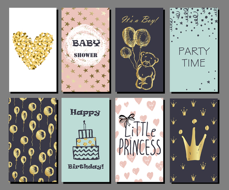 Set of hand drawn cute cards with gold Confetti glitter and foil. Perfect for baby shower, birthday, party invitation. For boys and girls Illustration