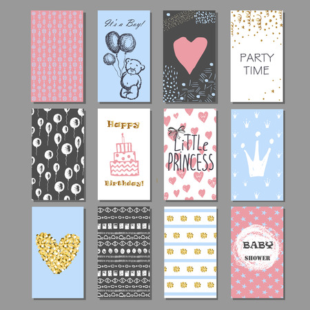 Set of hand drawn cute cards with gold Confetti glitter and foil. Perfect for baby shower, birthday, party invitation. For boys and girls.