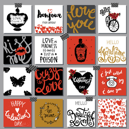 valentines: Big collection printable cards for different romantic, love projects. Illustration