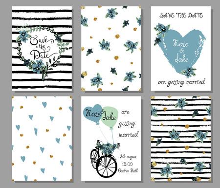 universal love: Colecci�n de plantillas de tarjetas dibujadas mano linda 6. Ahorre la fecha, ducha del beb�, nupcial, cumplea�os, d�a de San Valent�n, boda, boda, rom�ntico. Elegante patrones transparentes e ilustraciones. Vector. Vectores