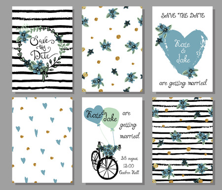 Collection of 6 cute hand drawn card templates. Save the date, baby shower, bridal, birthday, Valentine's day, wedding, marriage, romantic. Stylish seamless patterns and illustrations. Vector.