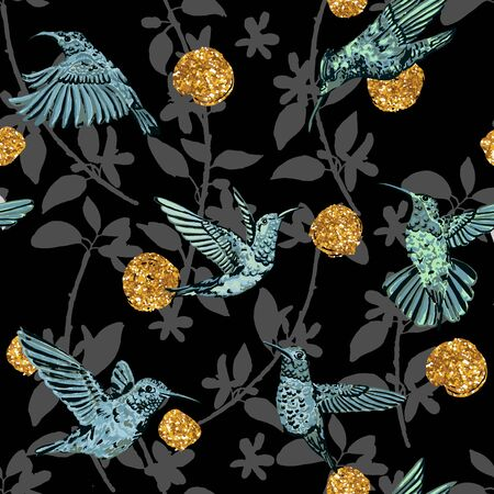 hummingbird: Use this pattern as endless background, backdrop, fabric print. Illustration