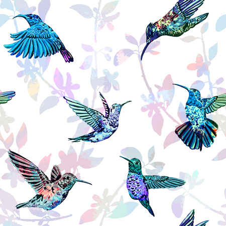 birds: Beautiful colorful tropical endless background for different projects. Illustration