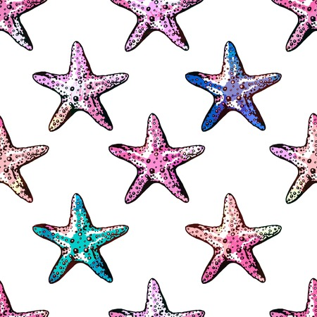 Exotic starfishes colorful seamless pattern for different projects.