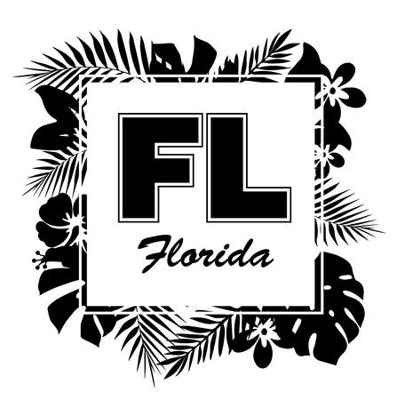 열대 낙원. T- 셔츠 또는 포스터 디자인 손바닥 잎과 이국적인 꽃과 슬로건으로 인쇄합니다.