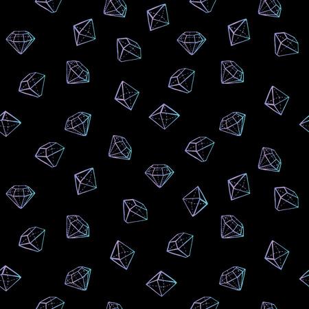宝石のシームレスなパターン。ファッションの流行の背景。  イラスト・ベクター素材