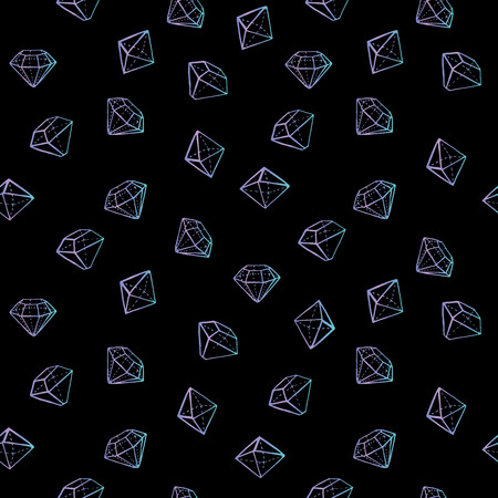 Jewels seamless pattern. Fashion trendy background. Çizim