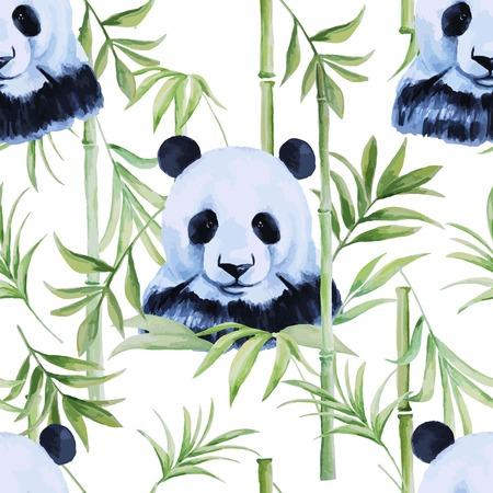 パンダ、さまざまなプロジェクト用竹シームレス パターン。  イラスト・ベクター素材