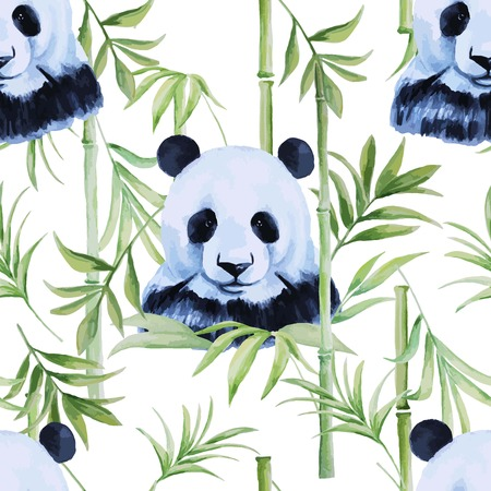 nature: Panda, bamboo seamless pattern for different projects.