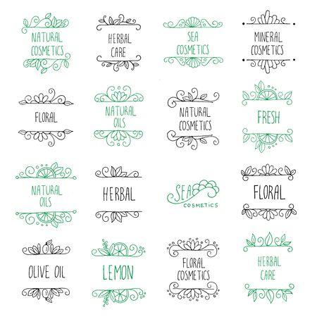 Vector set van de hand getekende logo's en labels voor schoonheid winkels en cosmetische industrie. Natuurlijke cosmetica branding design elementen. Stock Illustratie