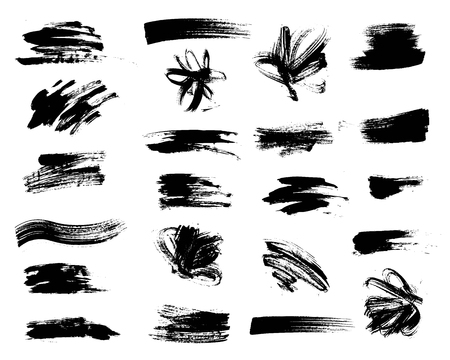 stroke: Vector set of grunge artistic brush strokes. Creative design elements.