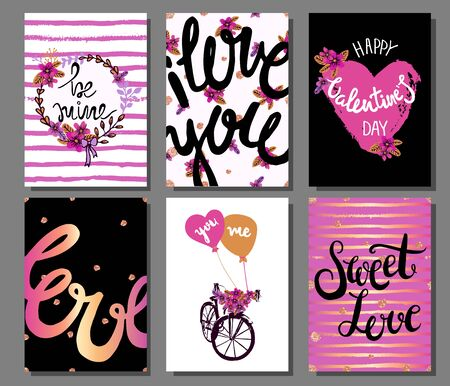 haert: Valentines Day Romantic Cards with Hearts, Flowers, Hand Drawn Text. Lettering.