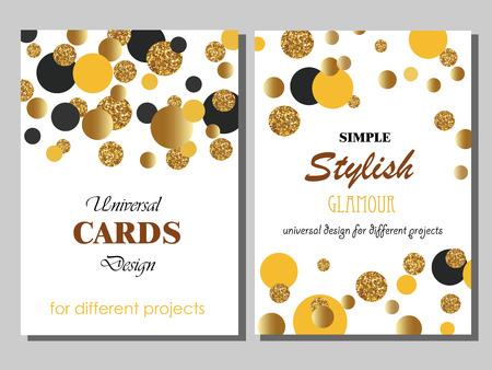 Colección de plantillas de tarjetas con estilo moderna universal con oro geométricas Glitter puntos. Boda creativa, aniversario, cumpleaños, día de San Valentín, invitaciones del partido, de negocios.