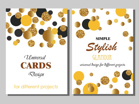 Collection of Universal Modern Stylish Cards Templates with Golden Geometrical Glitter Dots. Creative Wedding, Anniversary, Birthday, Valentines Day, Party Invitations, Business. Vettoriali