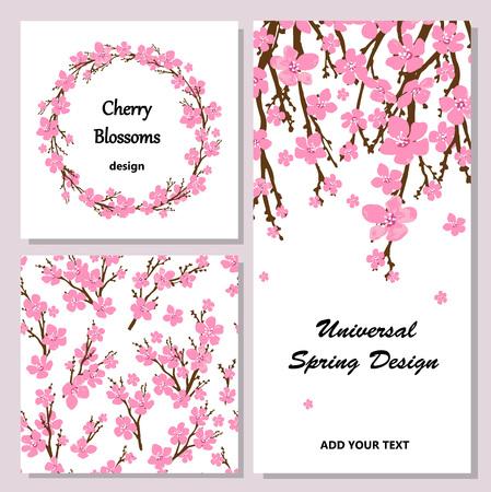 flor de cerezo: Conjunto de diferentes orígenes y las tarjetas para diferentes proyectos.