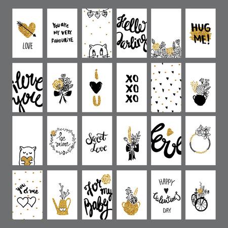 universal love: Colección de las tarjetas de amor romántico y con letras. fondos lindo día de San Valentín.
