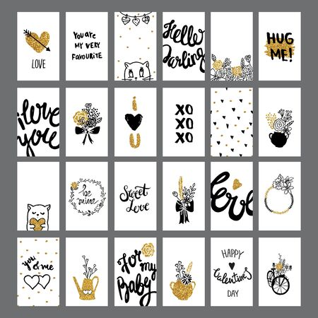 universal love: Romantic and love cards collection with lettering. Valentines Day cute backgrounds. Foto de archivo